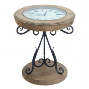 EcWorld Enterprises 7798135 Urban Designs Natural Exposed Wood Round Clock Coffee And End Table