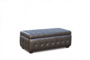 Zen Bonded Leather Lift Top Tufted Storage Trunk