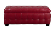Diamond Sofa Zen Leather Lift Top Tufted Storage Trunk in Red