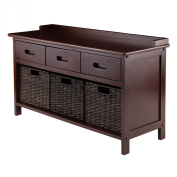 Winsome Wood Adriana Collection 4 Piece Storage Bench Set with 3 Foldable Corn Husk Baskets, Chocolate Finish