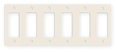 Hubbell Wiring Systems PHPS6AL Style Line Device Steel Surge Receptacle 6-Decorator Wall Plate, 6 Gang, 28cm - 1.7cm Width x 10cm - 1.3cm Height x 0.08cm Thick, Almond