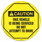 """Accuform Signs KDD716 STOPOUT Vinyl Steering Wheel Message Cover, ANSI-Style Legend """"CAUTION THIS VEHICLE IS BEING SERVICED DO NOT ATTEMPT TO DRIVE"""", 41cm Diameter, Black on Yellow"""