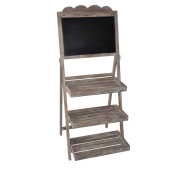 Cheungs Home Decorative Wood Chalkboard Stand with 3 Storage Racks