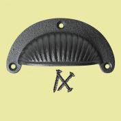 Cabinet Or Drawer Bin Pull Black Iron Cup 12cm X 4.4cm H   Renovator's Supply