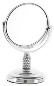 Danielle Enterprises Chrome Mini Mirror with Pearl Studded Stem, 4X Magnification, Chrome/Pearl