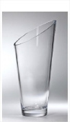 Majestic Gifts T-730-9 Classic clear 25cm . High Quality Glass Slanted Vase