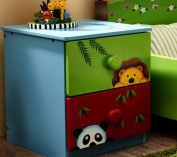 Fantasy Fields - Sunny safari themed 2 Drawer Wooden Bedside Table Night Stand Cabinet for Kids Storage   Hand Crafted & Painted Details   Child Friendly Water-based Paint
