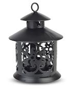 13cm Black Round Hurricane Candle Lantern