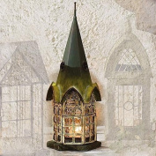 Glass and Metal Architectural Candle Lantern - Green Patina Pickford House