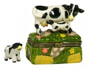 Black and White Farm Cow Nurse Calf Udder Hinged Miniature Trinket PHB