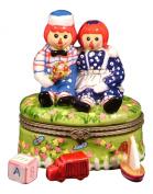 Raggedy Ann and Andy Doll Hinged Trinket Box phb