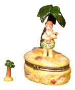 Island HuLa Dancer Boy Palm Tree Trinket Box phb