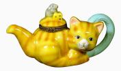Cat Kitten Tabby Teapot Tea Party Trinket Box phb