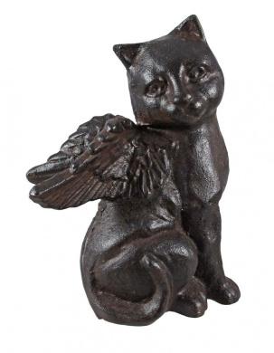 Cast Iron Angel Cat Statue Figure