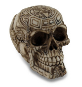 Aztec Design Carved Human Skull Statue Figure