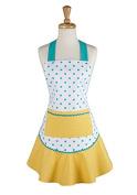 Design Imports 28181 Aqua & Yellow Polka Dot Ruffle Apron