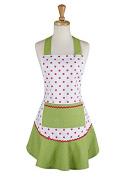 Design Imports 28180 Pink & Green Polka Dot Ruffle Apron