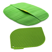 Charles Viancin Honeycomb Green Silicone Pot Holder and 25cm x 33cm Banana Leaf Cover Set