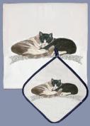 Pipsqueak Productions DP587 Cat Dish Towel And Pot Holder Set