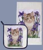 Pipsqueak Productions DP549 Cat Dish Towel And Pot Holder Set
