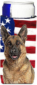 USA American Flag with German Shepherd Ultra Beverage Insulators for slim cans KJ1159MUK