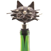 Decorative Whimsical Metal Kitty Cat Wine Bottle Stopper With Rubber Seal