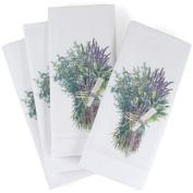 White Egyptian Cotton Napkin with Herbs de Provence Design, Set of 6