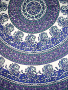 Indian Mandala Round Cotton Tablecloth 180cm Blue