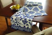 Navy Mandarin Floral on White Print 180cm Kitchen Dining Table Runner Split P
