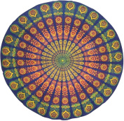 Sanganeer Print Round Cotton Tablecloth 180cm Blue
