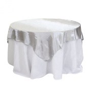 Koyal Wholesale Square Satin Overlay Table Cover, 230cm by 230cm , Silver