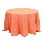 Koyal Wholesale Round Polyester Tablecloth, 230cm , Coral