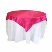 Koyal Wholesale Square Satin Overlay Table Cover, 180cm by 180cm , Fuchsia