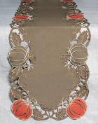 180cm Brown and Orange Pumpkin Cut-Out Design Trim Thanksgiving Table Runner