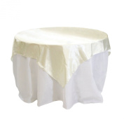 Koyal Wholesale Square Satin Overlay Table Cover, 230cm by 230cm , Ivory