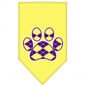 Argyle Paw Purple Screen Print Bandana Yellow Small