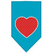Red Swiss Dot Heart Screen Print Bandana Turquoise Small