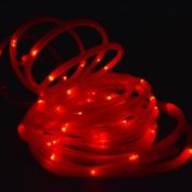 50 Red LED Solar Powered Garden Stake Rope Tube String Light w/ Light Sensor
