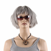 STfantasy 33cm Short Grey Wigs For women With Free Cap