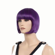 STfantasy 30cm Elegant Short Bob Purple Wigs For Women With Free Cap