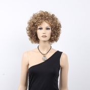 STfantasy 33cm Blonde Afro Wigs for Women With Free Cap