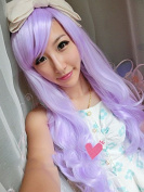 Women/ladies Pretty 70cm light Purple Long Wavy Curly Japanese Harajuku lolita Anime Show Party Hair
