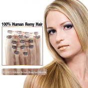 Futuretrend@7Pcs 70g 46cm 100% Real Full Head Remy Clip In Human Hair Extensions #12/613 Silky Soft