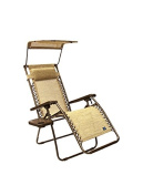 Bliss Hammocks Gravity Free Lounger with Pillow Canopy and Side Tray In Sand