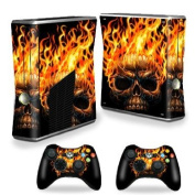 Protective Vinyl Skin Decal Cover for Microsoft Xbox 360 S Slim + 2 Controller Skins Sticker Skins Hot Head