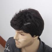 STfantasy 30cm Handsome Short Natural Black Curly Men Wigs(Tangle Free)