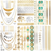 Cokohappy Metallic Temporary Tattoos,(One set) 6 Different Sheets of Bling Gold Silver,Wing Feather Bracelets Necklace Armbands Ring Fake Jewellery Tattoos,Sexy Body Art Long Lasting for Men Women