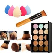 Mefeir 15 Colours Professional Concealer Camouflage Makeup Palette Contour Face Contouring Kit + Oblique Head Contour Makeup Brush with Free Makeup Sponge Blender