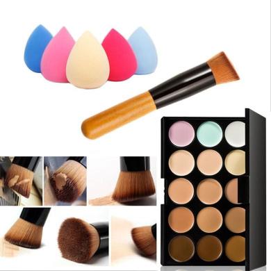 Mefeir 15 Colours Professional Concealer Camouflage Makeup Palette Contour Face Contouring Kit + Oblique Head Contour Makeup Brush with Free Makeup Sponge Blender (Water Drop)