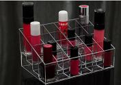 24 Slot Transparent Makeup Beauty Cosmetic Train Case Display Stand Rack Holder Tabletop Riser for Lipstick Liner Brush Nail Polisher Acrylic Organiser Showcase AOSTEK